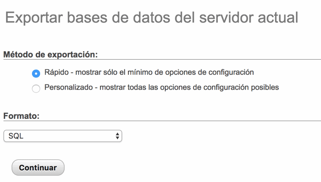 copia de seguridad de la base de datos de Magento